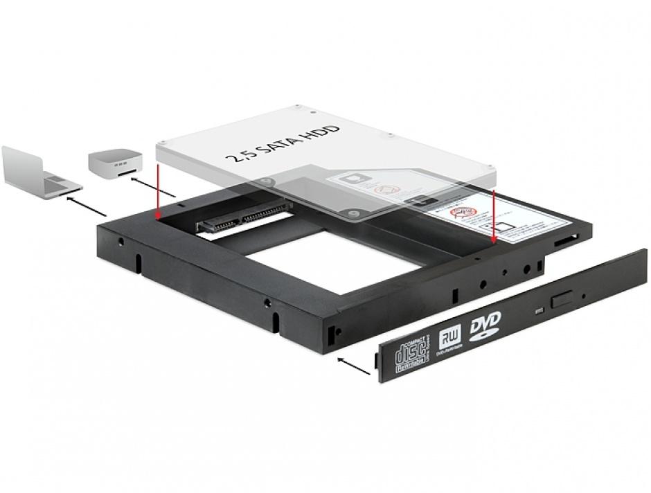 "Imagine Installation Frame (Caddy) 13mm Slim SATA 5.25 pentru 2.5"" SATA HDD 9.5mm, Delock 61993"