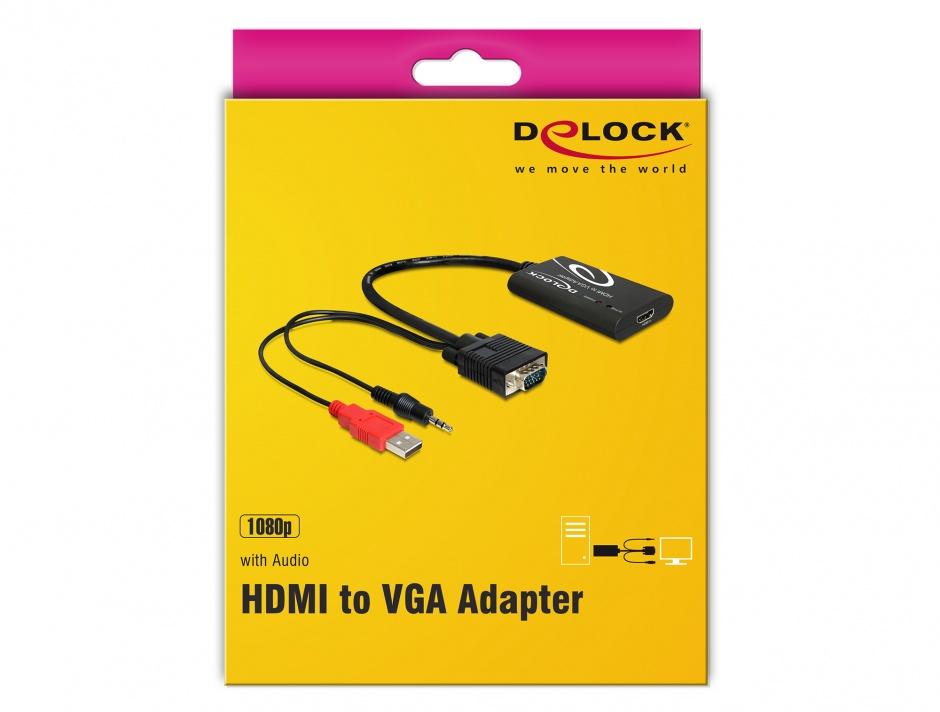 Imagine Convertor HDMI la VGA cu Audio, Delock 62407