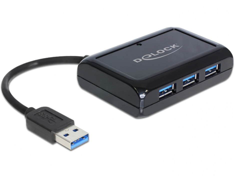 Imagine Hub USB cu 3 x USB 3.0 + 1 port Gigabit LAN, Delock 62440