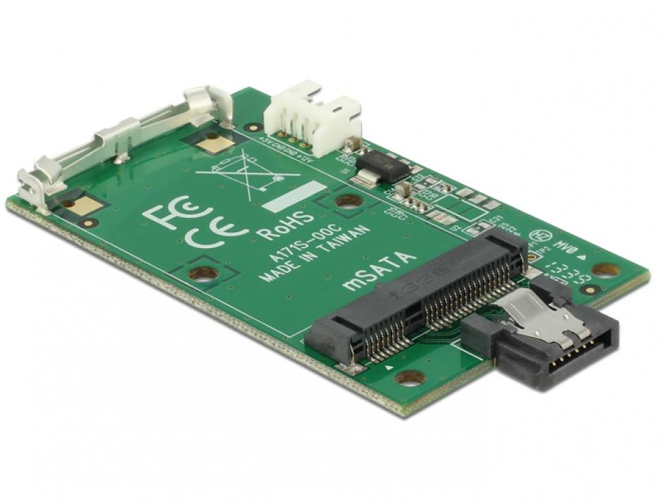 Imagine Convertor SATA 7 pini la mSATA full size, Delock 62511