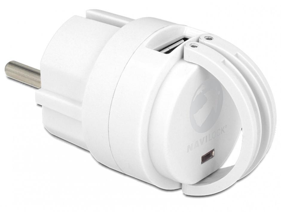 Imagine Incarcator priza 2 x USB 2A Alb, Navilock 62516