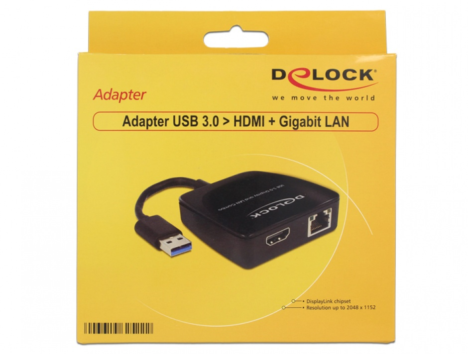 Imagine Adaptor USB 3.0 la HDMI + Gigabit LAN, Delock 62522
