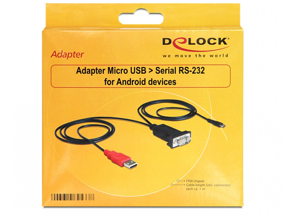 Imagine Adaptor Micro USB la Serial RS-232 pentru Android, Delock 62533