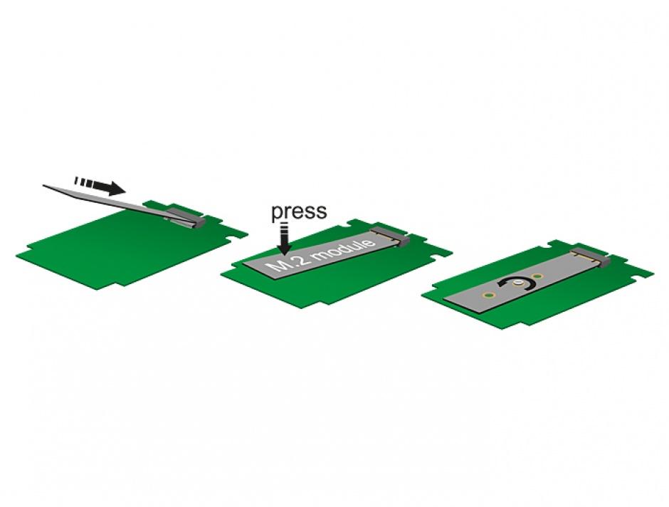 Imagine Convertor SATA 22 Pini la M.2 NGFF pana la 7mm, Delock 62544