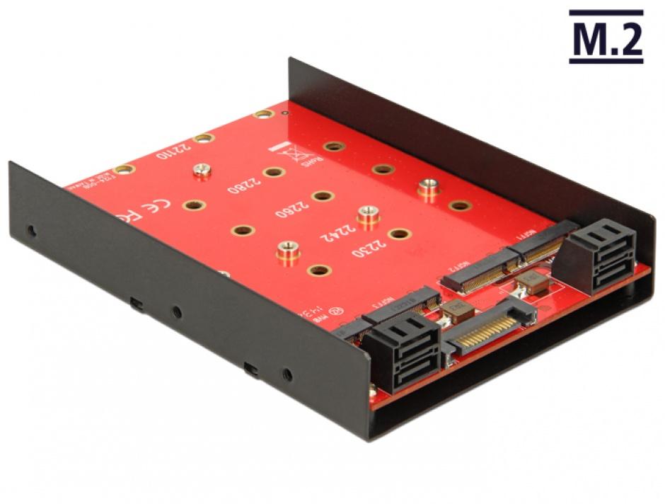 Imagine Convertor 4 x SATA 7 pini la 4 x M.2 NGFF, Delock 62574
