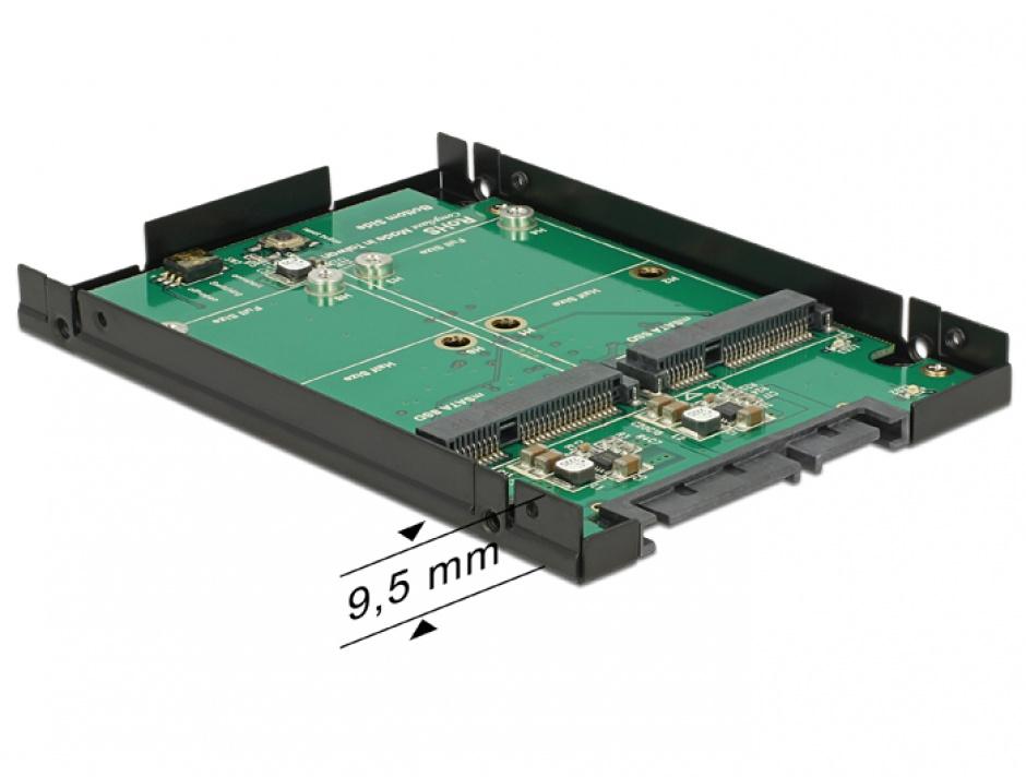 """Imagine Convertor SATA 22 Pini 2.5"""" la 2 x mSATA cu RAID, Delock 62594"""
