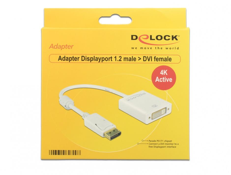 Imagine Adaptor Displayport la DVI T-M 1.2 4K Activ Alb, Delock 62600