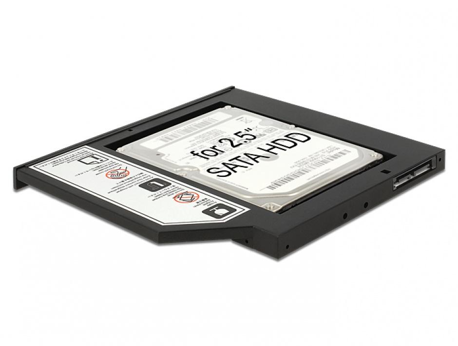 "Imagine Installation Frame (Caddy) Slim SATA 5.25 pentru 2.5"" SATA HDD 9.5mm, Delock 62669"