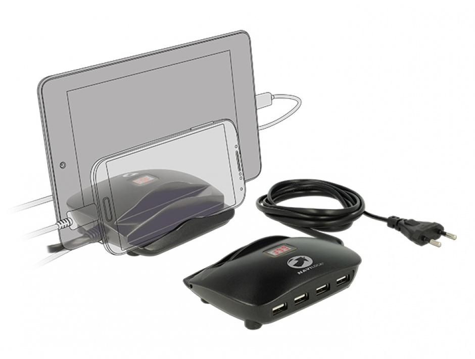 Imagine Incarcator priza (Statie de incarcare) 4 porturi + 2 x Suport Smartphone / Tableta si indicator LED pentru Amperaj, Navilock 62689