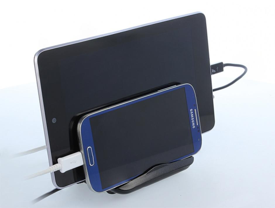 Imagine Incarcator priza (Statie de incarcare) 4 porturi + 2 x Suport Smartphone / Tableta si indicator LED