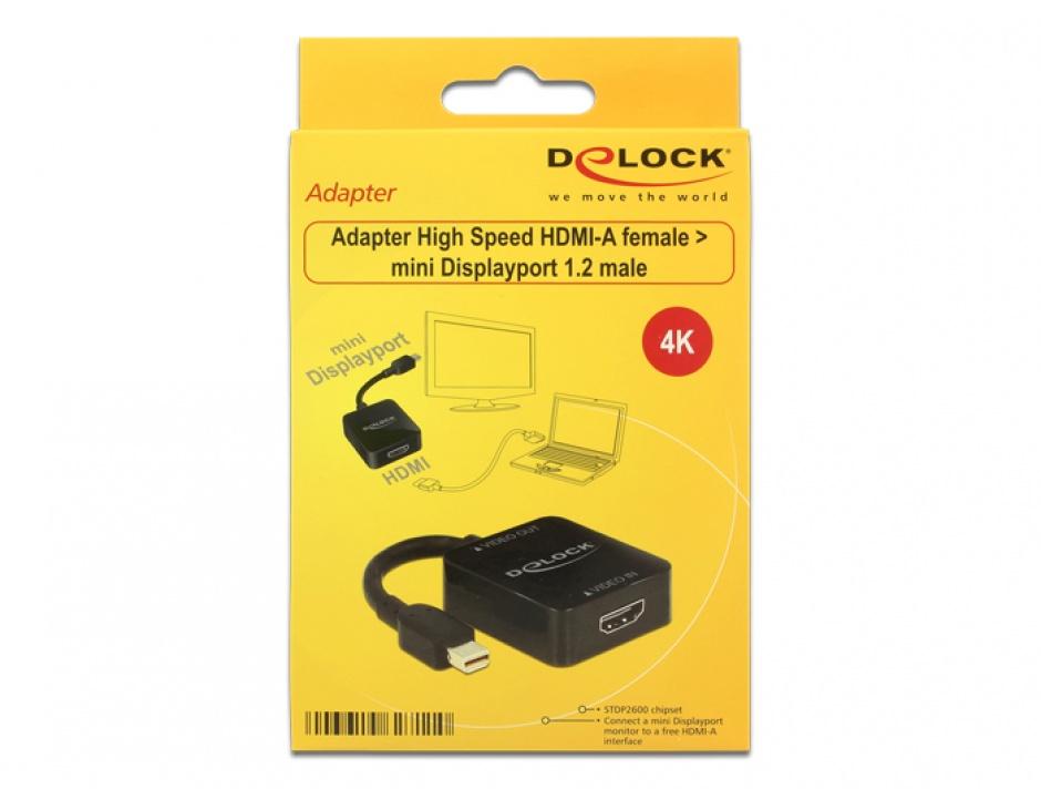 Imagine Adaptor HDMI la Mini Displayport 1.2 Negru, Delock 62711