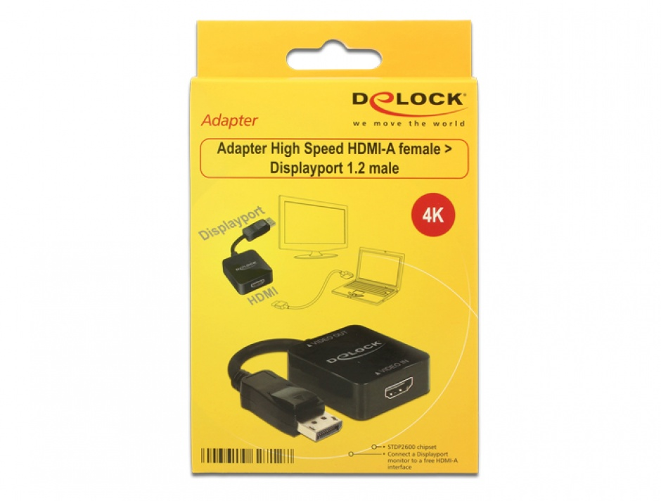 Imagine Adaptor HDMI la Displayport 1.2 Negru, Delock 62712