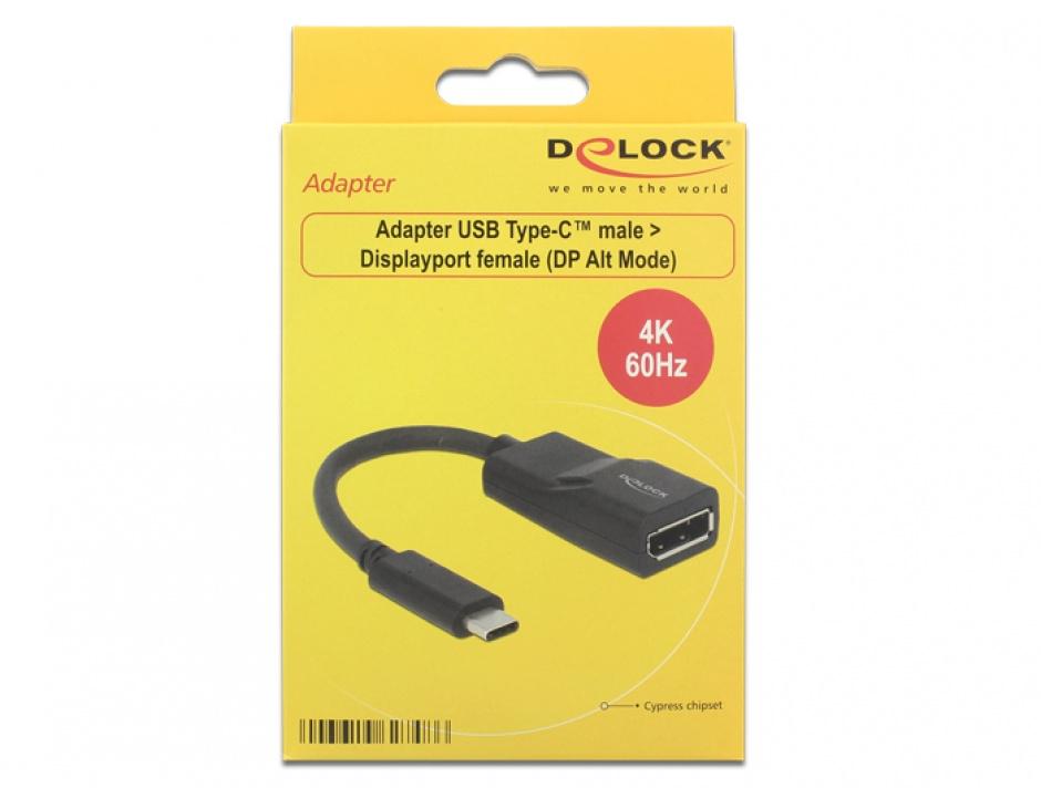 Imagine Adaptor USB tip C la Displayport (DP Alt Mode) 4K 60 Hz T-M Negru, Delock 62748