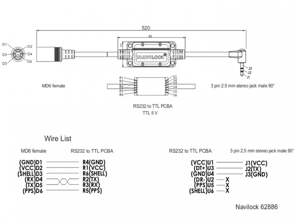 Imagine Cablu MD6 socket serial la jack 2.5 mm 3 pini 90° TTL (5 V) 52cm, Navilock 62886