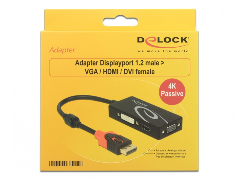 Imagine Adaptor Displayport 1.2 la VGA / HDMI / DVI 4K Pasiv T-M, Delock 62902