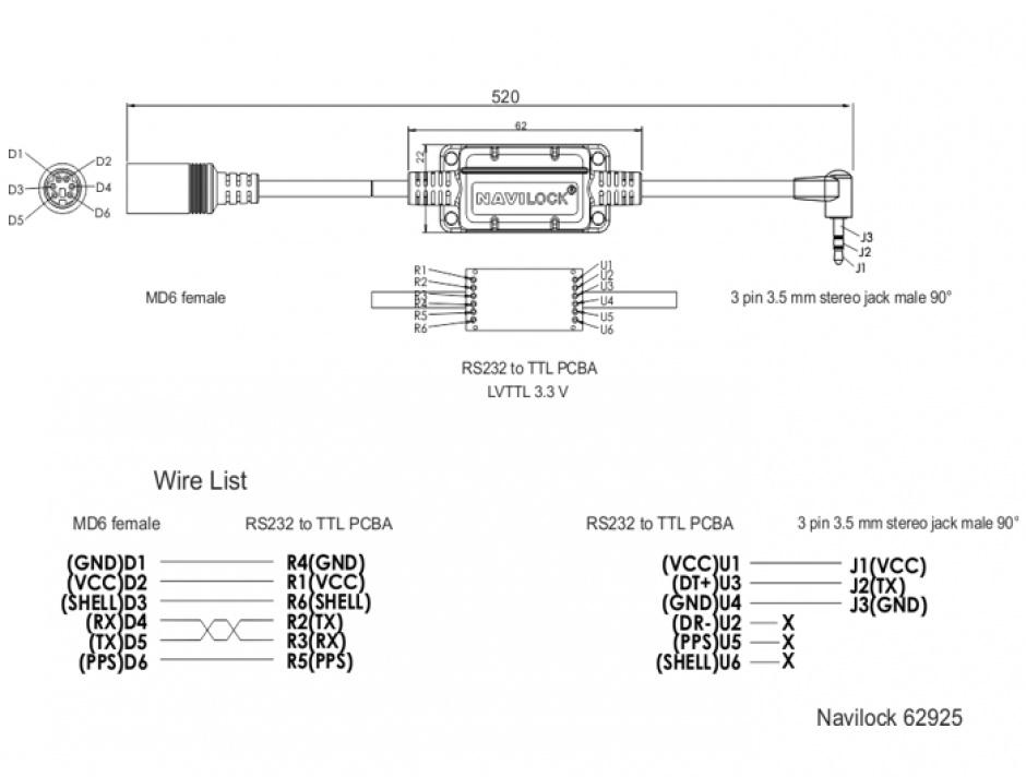Imagine Cablu MD6 socket serial la jack 3.5 mm 3 pini 90° LVTTL (3.3 V) 52cm, Navilock 62925