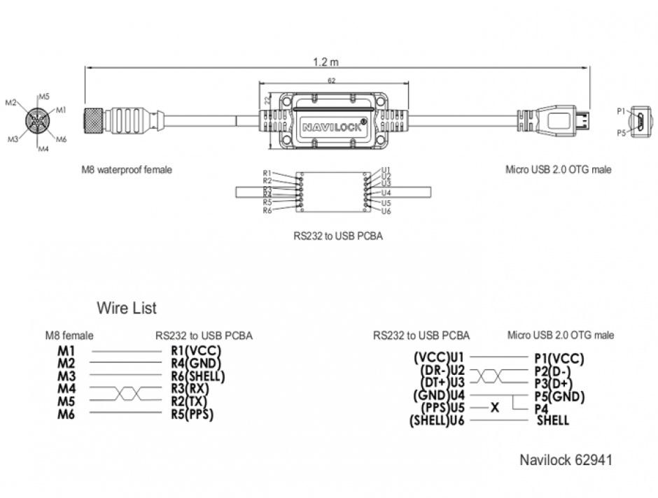 Imagine Cablu M8 waterproof la Micro USB OTG 2.0 M-T, Navilock 62941