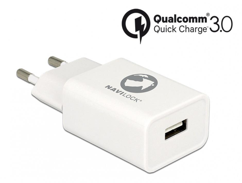 Imagine Incarcator priza cu 1 x USB Qualcomm Quick/Fast Charge 3.0 (incarcare rapida) Alb, Navilock 62969