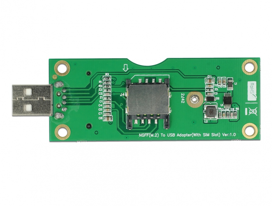 Imagine Adaptor USB tip A la M.2 Key B cu slot SIM, Delock 63446