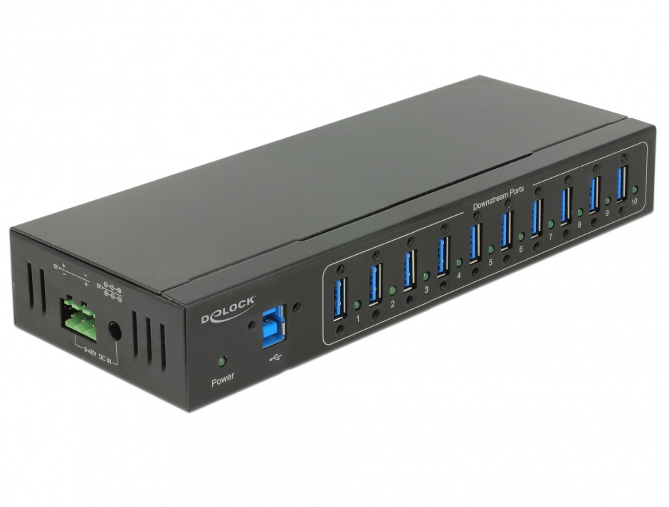 Imagine HUB extern industrial cu 4 x USB 3.0 tip A, protectie 20 kV ESD, Delock 63919