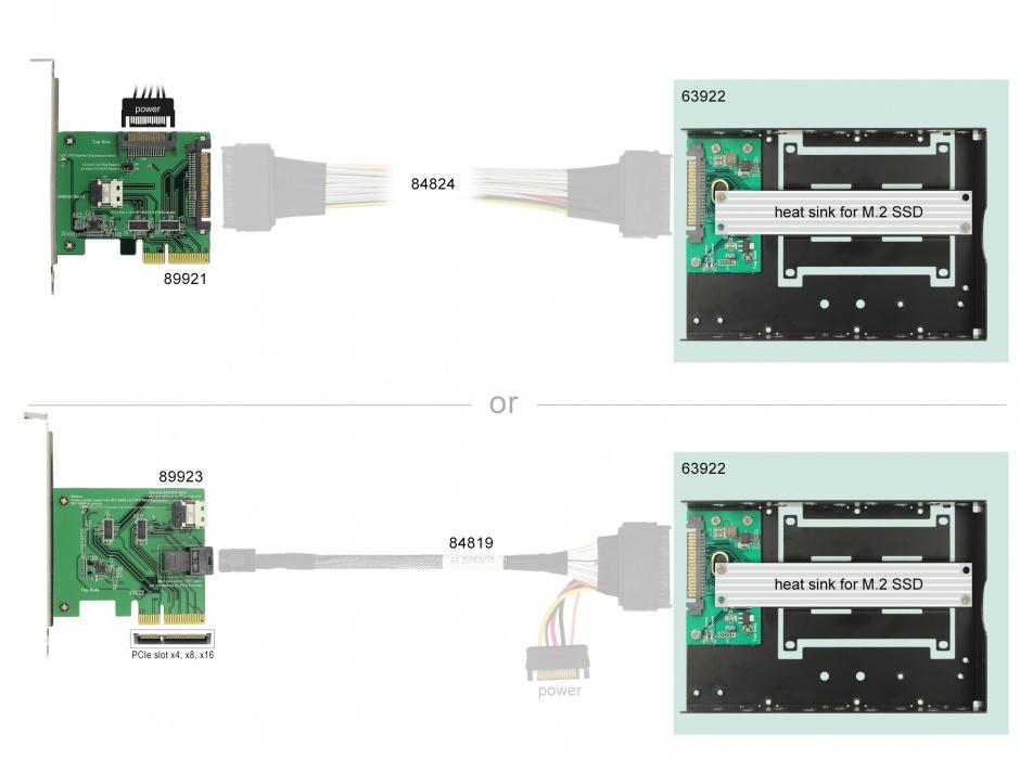 """Imagine Convertor U.2 SFF-8639 la M.2 NVMe Key M cu frame 3.5"""", Delock 63922"""