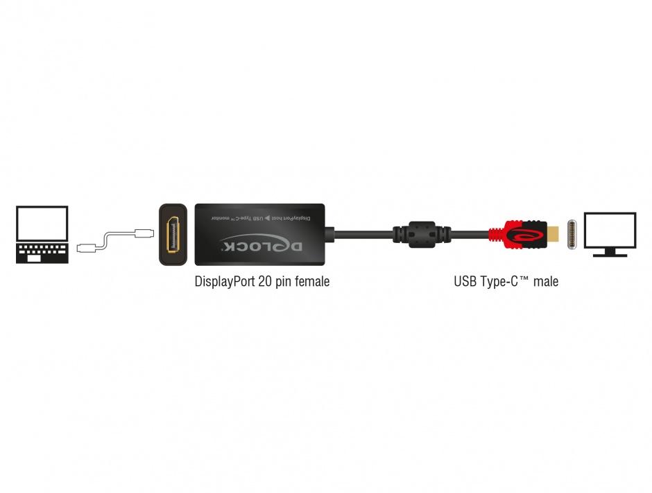 Imagine Adaptor Displayport la USB tip C M-T 4K 60 Hz, Delock 63928