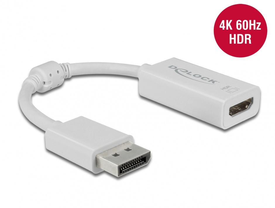 Imagine Adaptor Displayport 1.4  la HDMI (DP Alt Mode) 4K 60Hz cu HDR T-M Alb, Delock 63936
