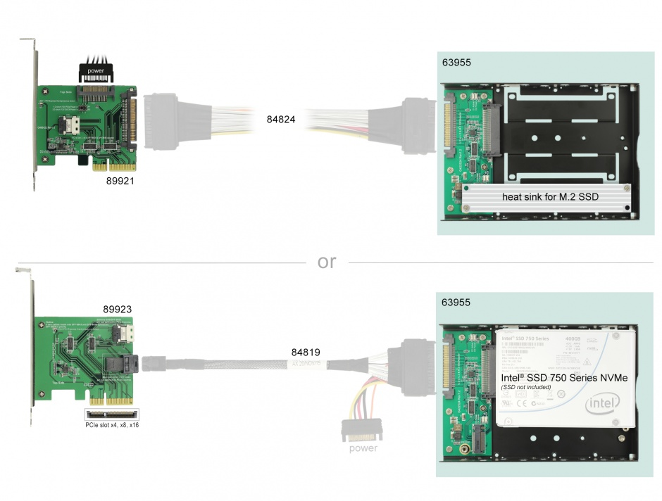 """Imagine Convertor U.2 SFF-8639 la M.2 NVMe Key M / U.2 SFF-8639 cu frame 3.5"""", Delock 63955"""