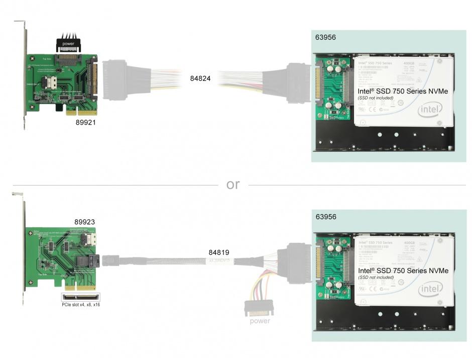 """Imagine Convertor U.2 SFF-8639 la U.2 SFF-8639 cu frame 3.5"""", Delock 63956"""
