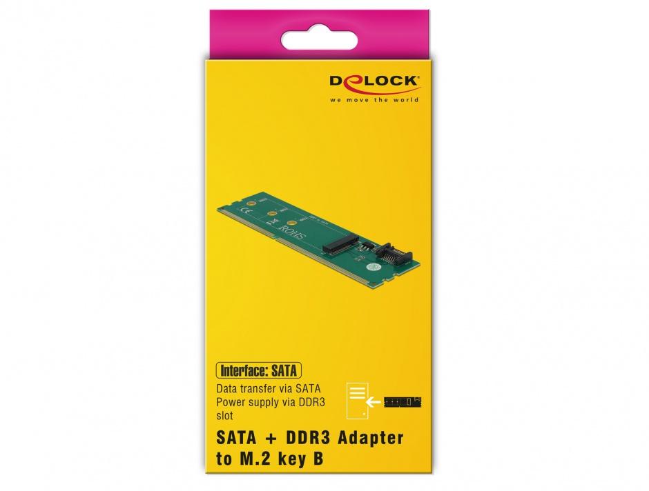 Imagine Adaptor SATA + DDR3 la M.2 key B, Delock 63960