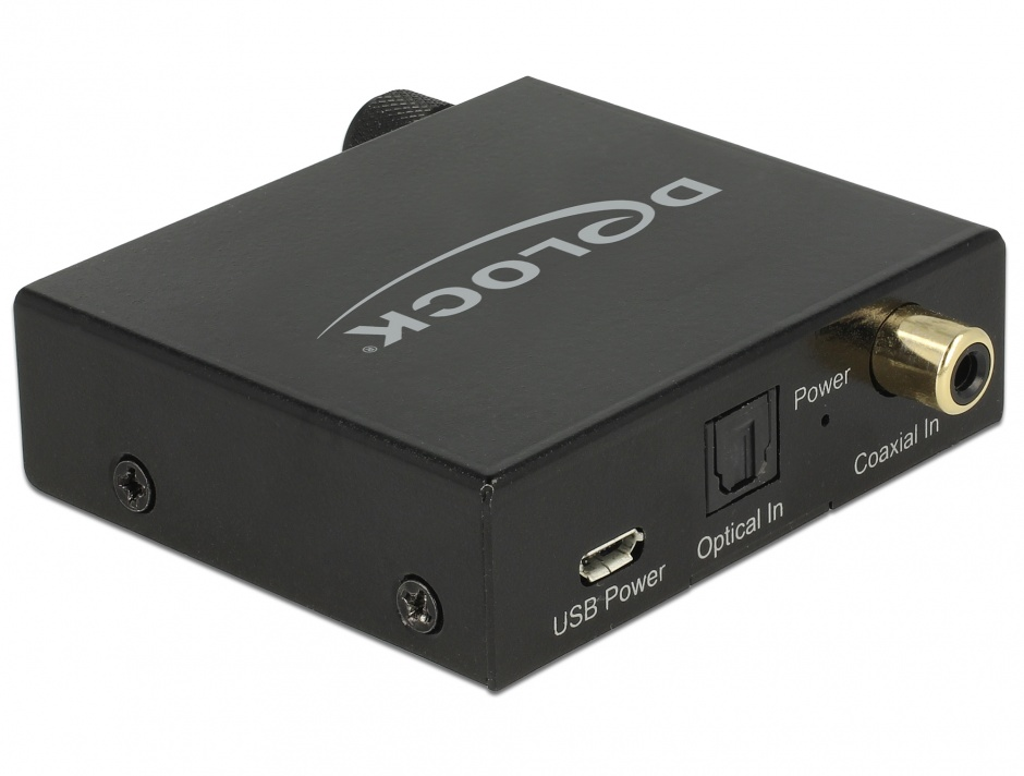 Imagine Convertor Digital Audio S/PDIF la analog RCA HD cu Headphone Amplifier, Delock 63972