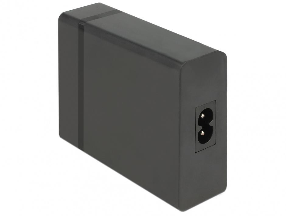 Imagine Incarcator universal 60W IEC C8 la USB-C PD + 3 x USB-A, Delock 63974