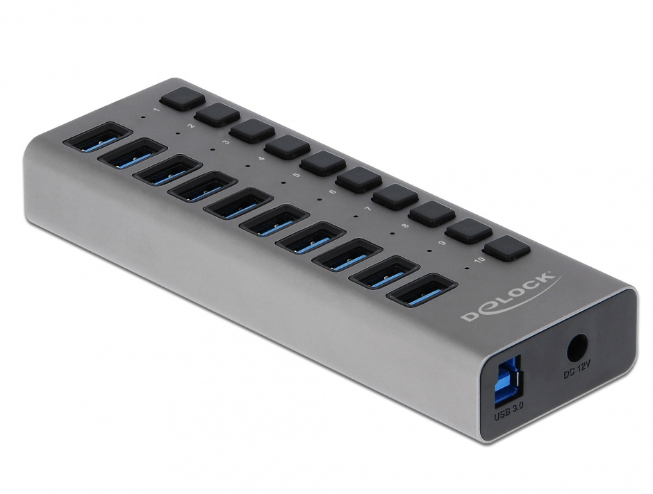 Imagine HUB cu 10 porturi USB 3.0 + switch ON/OFF Negru, Delock 63976