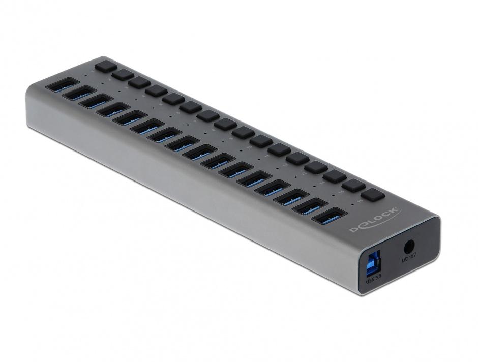 Imagine HUB cu 16 porturi USB 3.0 + switch ON/OFF Negru, Delock 63978