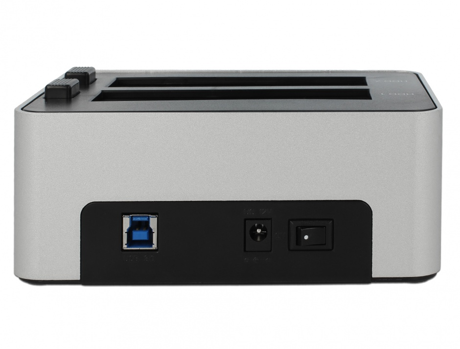 Imagine Dual Docking Station 2 x SATA HDD / SSD la USB 3.0 functie de Clona carcasa metalica, Delock 63991