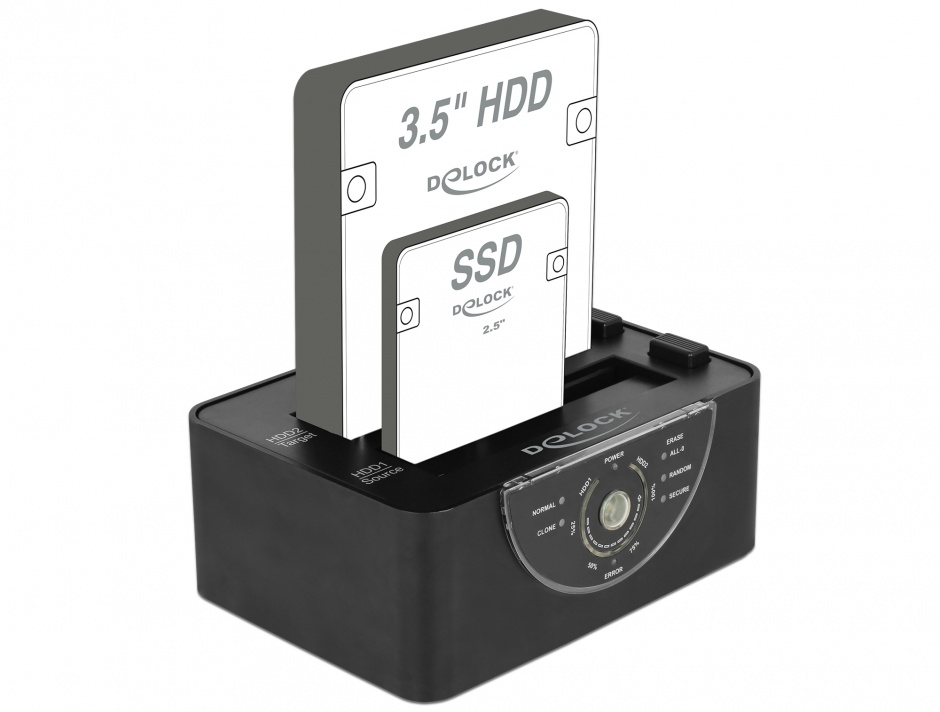Imagine Docking Station Dual USB 3.0 pentru 2 x SATA HDD/SSD functie de Clona/Erase metalic, Delock 63992