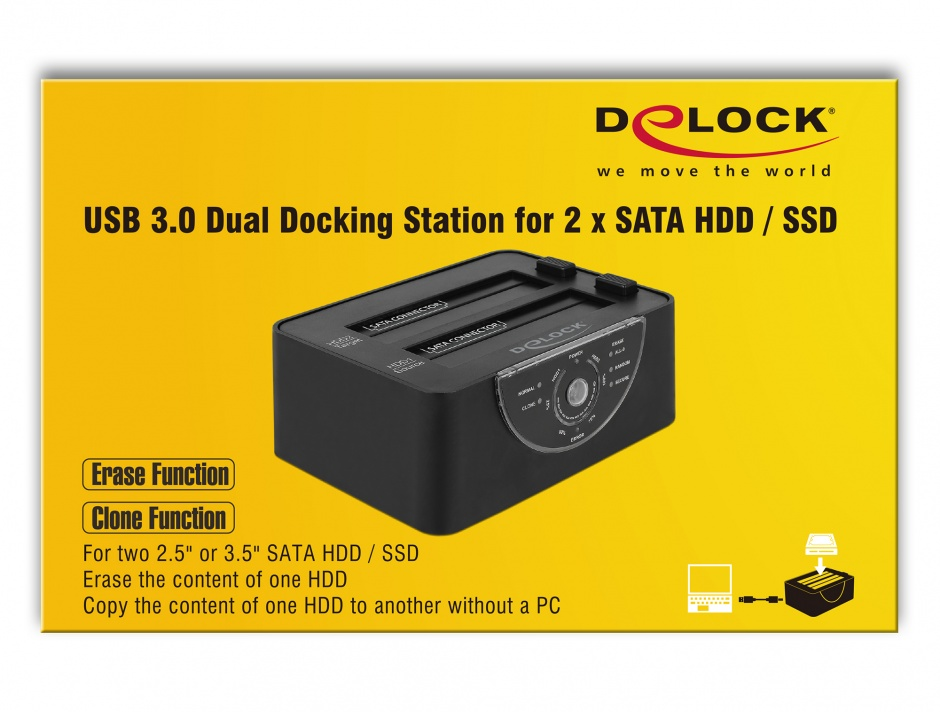 Imagine Docking Station Dual USB 3.0 pentru 2 x SATA HDD/SSD functie de Clona/Erase metalic, Delock 63992