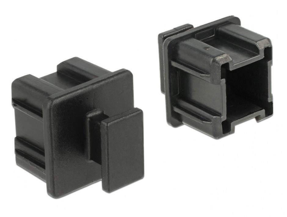 Imagine Protectie impotriva prafului pentru conector Mini SAS HD SFF 8644 cu prindere set 10 buc Negru, Delock 64012