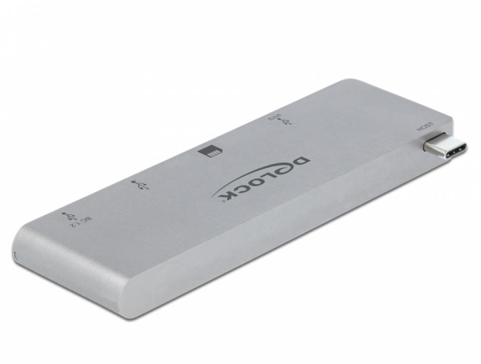 Imagine HUB USB-C la 2 porturi USB 3.1-A + 1 x USB-C + 1 x SD + 1 x micro SD pentru MacBook PD 3.0, Delock 64078