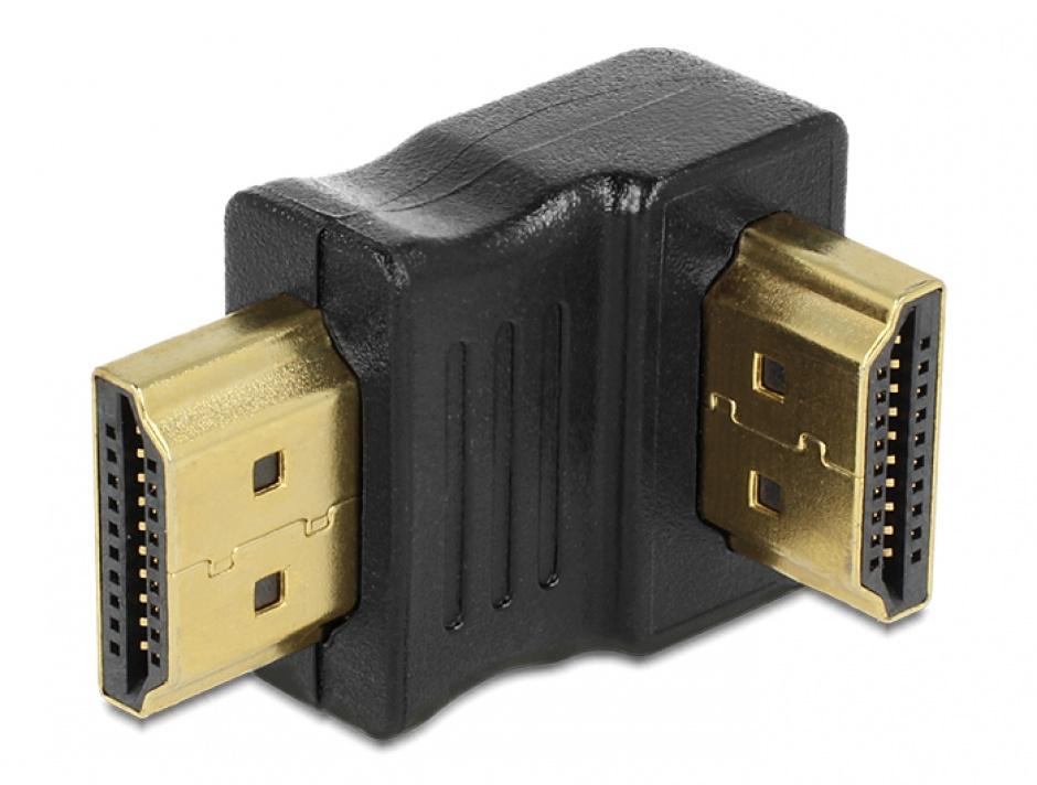Imagine Adaptor HDMI T - T unghi 90 in jos, Delock 65073