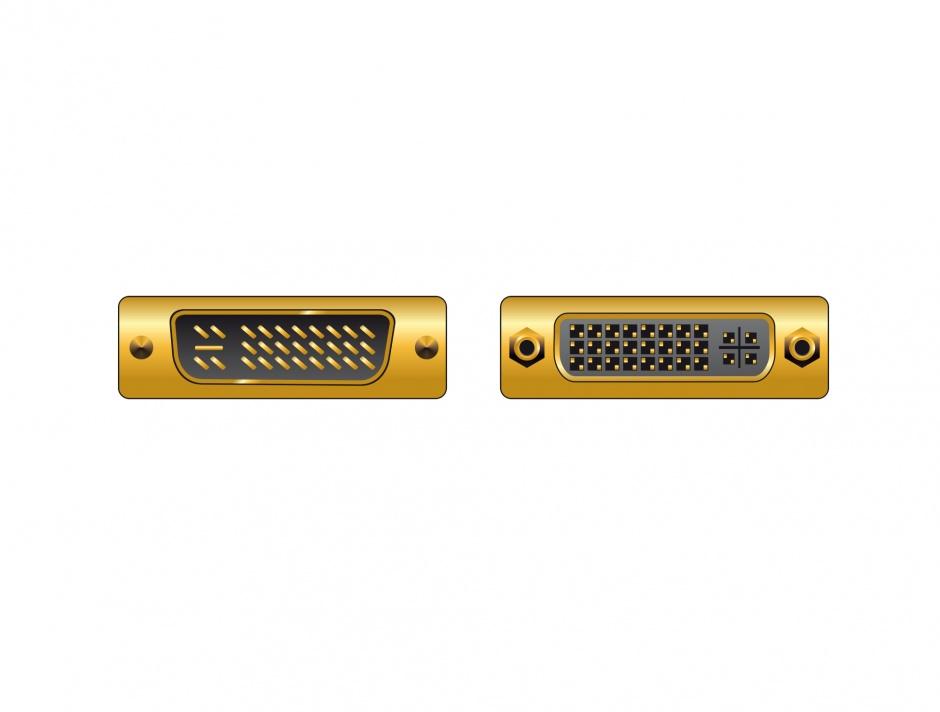 Imagine Adaptor DVI-I Dual Link 24+5pinI M-T unghi dreapta, Delock 65173