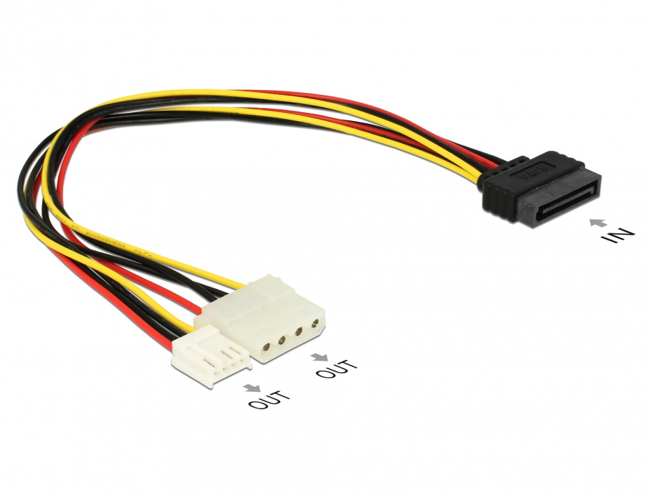 Imagine Cablu alimentare SATA la Molex + Floppy T-M, Delock 65227