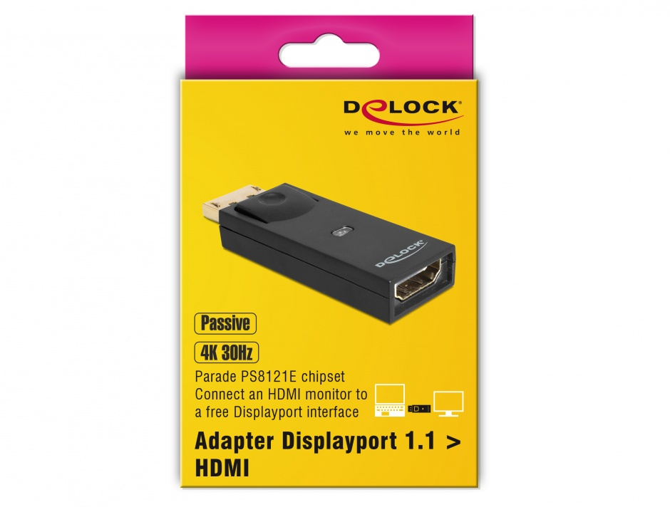 Imagine Adaptor DisplayPort la HDMI T-M pasiv Negru, Delock 65258