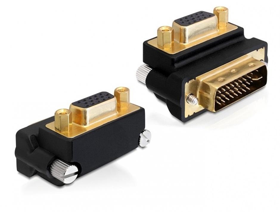 Imagine Adaptor VGA la DVI-I Dual Link 24+5pini T-M, unghi 270 grade, Delock 65261