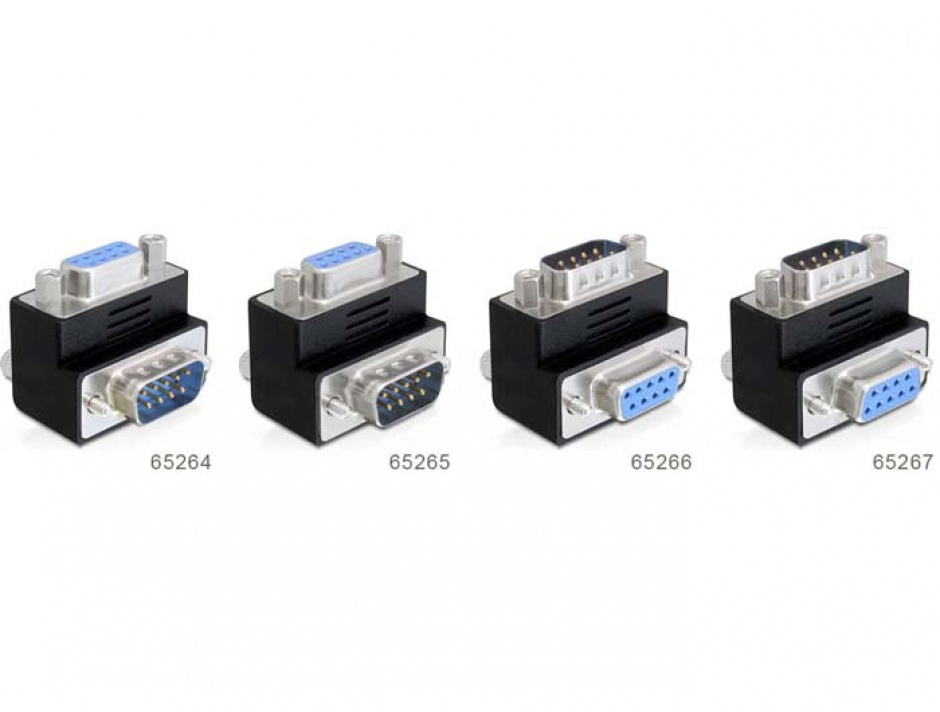 Imagine Adaptor serial DB 9 Pini T - M in unghi, Delock 65266