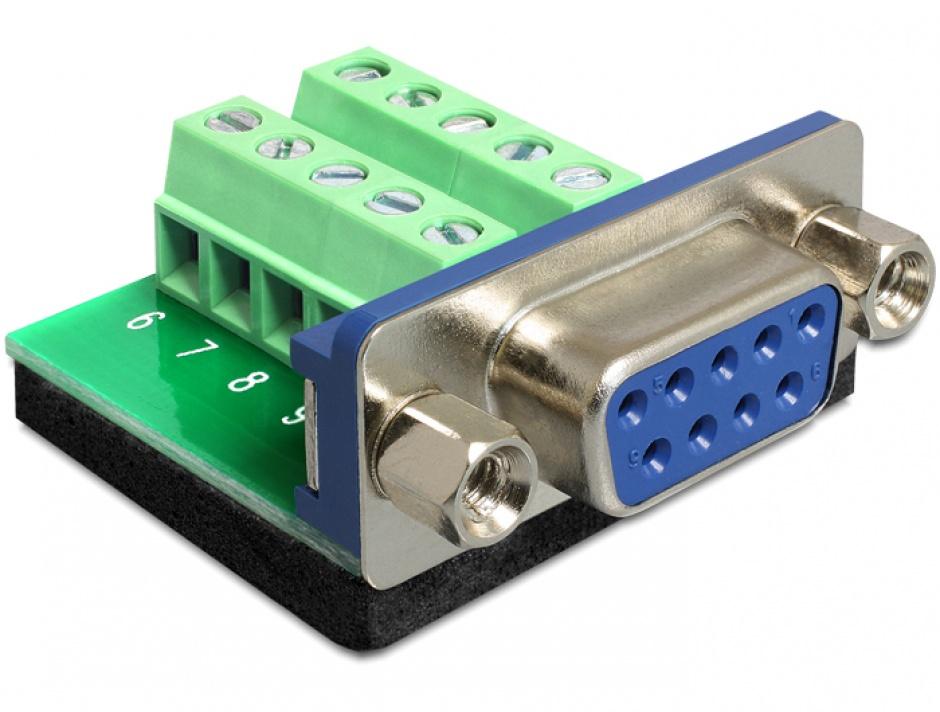 Imagine Adaptor Serial mama la bloc terminal, 10 pini, Delock 65268
