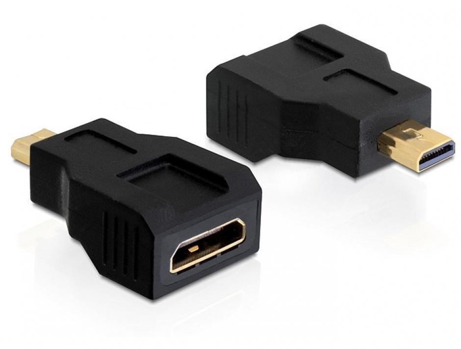 Imagine Adaptor micro HDMI-D la mini HDMI-C T-M, Delock 65271