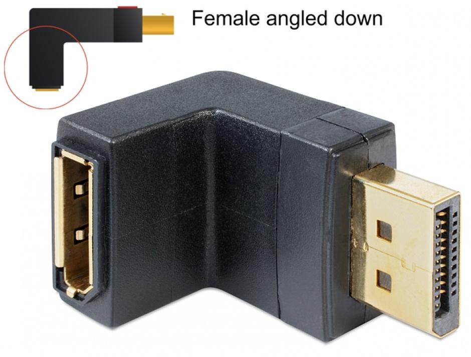 Imagine Adaptor Displayport v1.4 T-M in unghi jos, Delock 65382