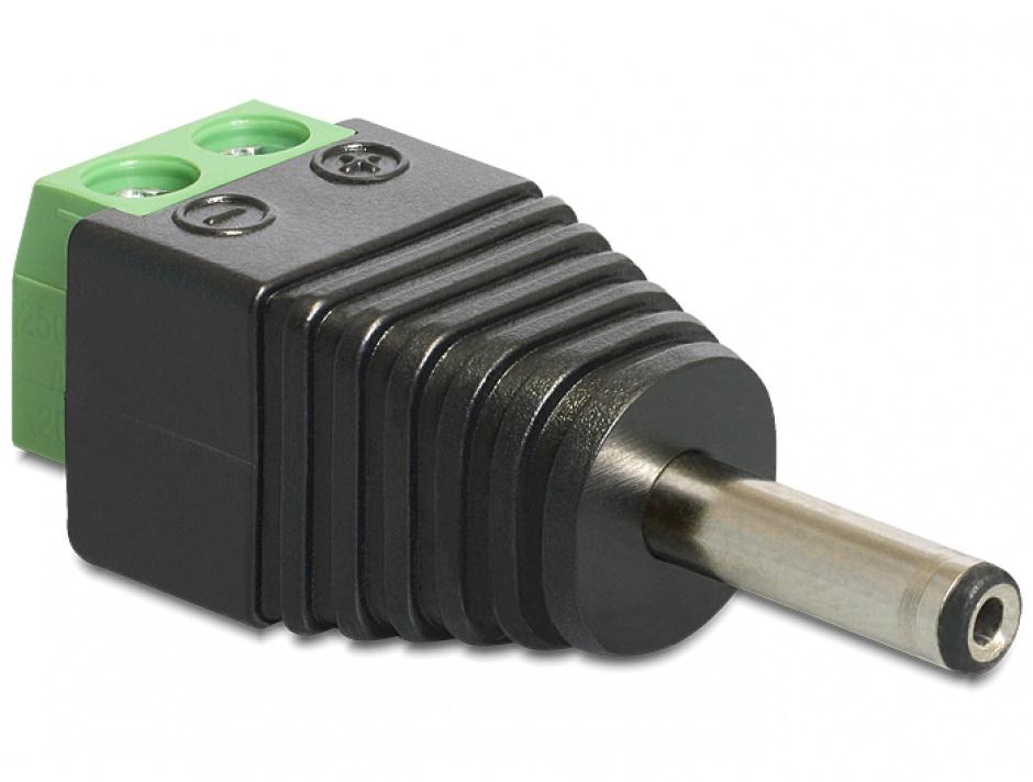 Imagine Adaptor DC 1.3 x 3.5 mm tata la bloc terminal 2 pini, Delock 65434