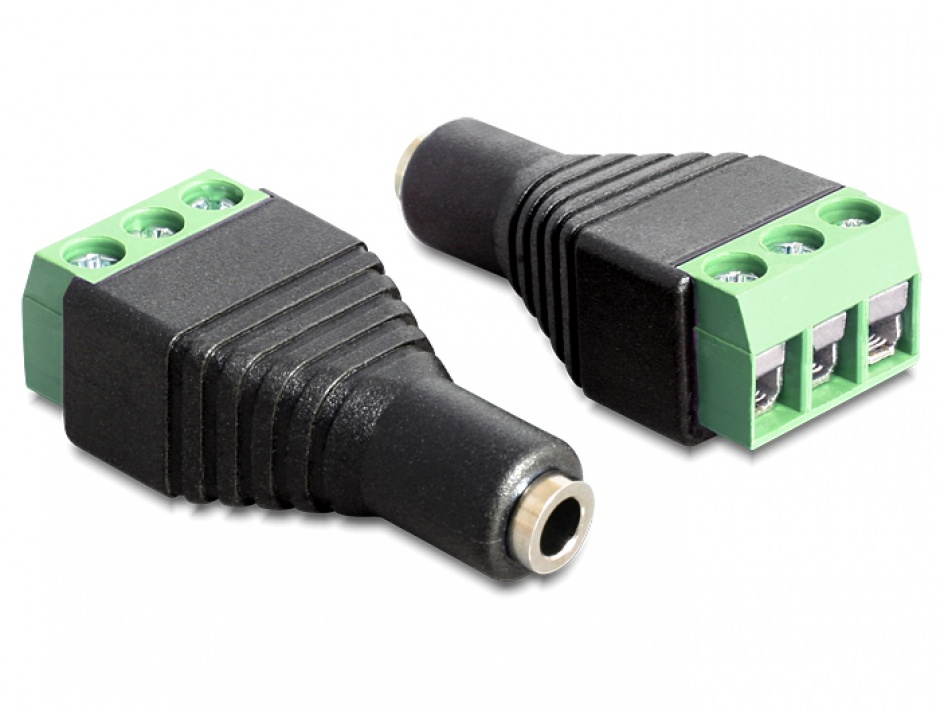 Imagine Adaptor jack stereo 3.5mm mama la bloc terminal 3 pini, Delock 65455